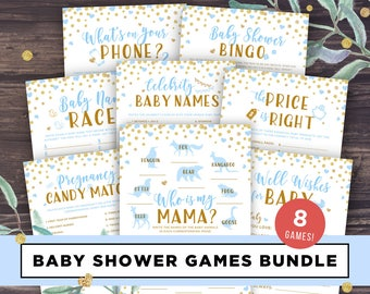 Blue and Gold Baby Shower Games Printable Package Bundle, Elephant Baby Shower Boys Games Instant Download, Unique Shower Ideas, PDF DIY