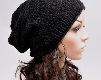 Hand knit hat woman man unisex black hat wool hat - ready to ship
