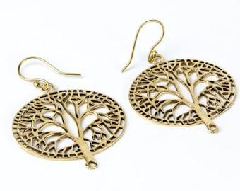 Brass Oval Tree of Life Earrings, Earrings handmade, Yoga Earrings, Nickel Free, Spiritual Jewellery, Gift boxed, Free UK post BG2