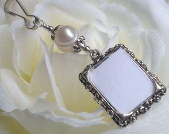 Wedding memorial bouquet photo charm with Freshwater pearl. Pearl wedding charm. Memorial photo charm - 1 or 2 sided. Bridal shower gift.