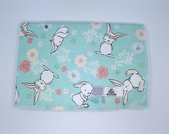 """Woodland Floral Bunny Animal Extra Large Receiving Blanket - 36"""" x 42"""""""
