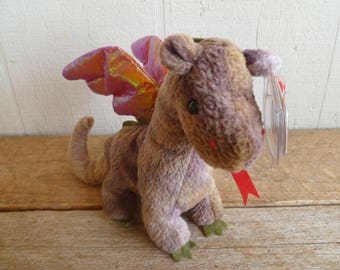 "TY  Beanie Babies Plush Dragon ""Scorch""  With Tags 1998"