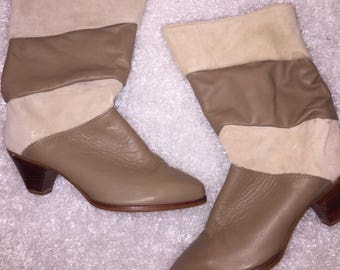 Vintage 80's Zodiac Genuine Suede Leather Boots
