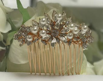 Pearl hair comb, rose gold hair comb, wedding hair comb, bridesmaid hair comb, vintage style hair comb