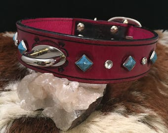 Tooled Magenta & Black Leather Dog Collar with Swarovski Crystal and Turquoise Rivets