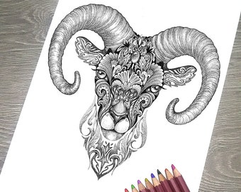 """Printable Coloring Page JPG - Adult Colouring Page, Instant Download only, Art Printable illustrations - """"Magic Totem"""" - Arhar"""