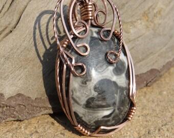 C-25 Magic Jasper Wirewrapped Pendant Copper Wire, Jasper Pendant, Jasper Necklace, Gemstone Pendant, Gemstone Necklace