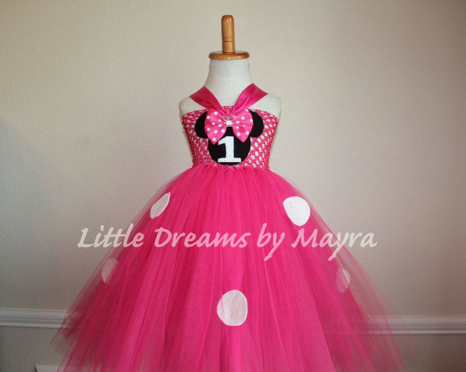 Hot pink 1st birthday minnie mouse inspired tutu dress and