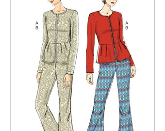OUT of PRINT Vogue Pattern V9214 Misses' Collarless Peplum Jacket and Pleated-Knee Pants