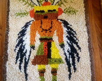 Vintage Native American style Kachina hand hooked rug 1970's