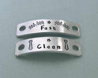 Hand Stamped Dog Agility Shoe Plates - Aluminum Shoe Tags - Canine Agility Gift - MACH Gift - Dog Agility Accessory - Fast and Clean