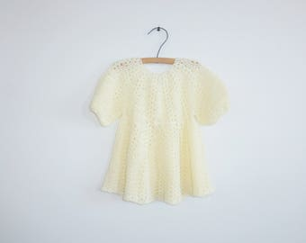 Vintage Yellow Knit Baby Dress