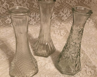 Clear Glass Vintage 3 Bud Vase Collection
