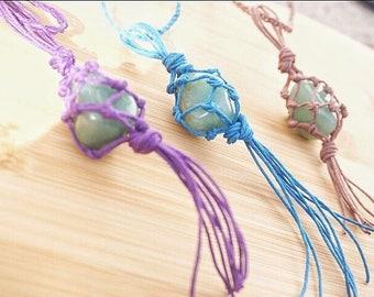 Green Aventurine Necklace/ Crystal necklace Macrame / Aventurine