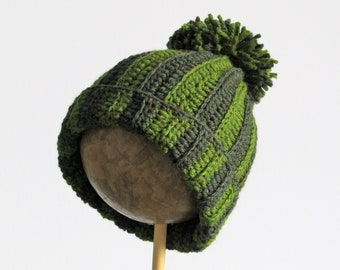Chunky green pom pom hat - child or toddler - age 1-5 years  -  chunky green stripes - wool and alpaca - natural fibers