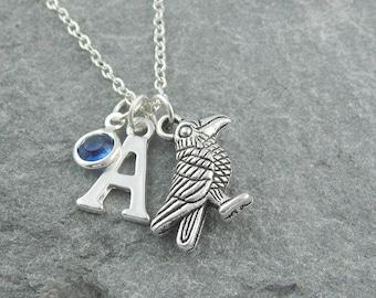 Raven necklace, silver raven pendant, personalized jewelry, initial necklace, swarovski birthstone, bird jewelry, gothic jewelry