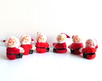 6 Vintage Santa Claus Clip on Dolls, Christmas Decorations, Christmas Ornaments, Pencil Hugger Clasp on Toys, Lot Santa Claus Decor