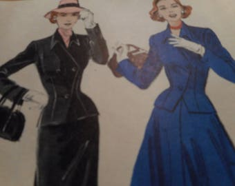 Vintage 1950's Butterick 6052 Soft-Tailored Suit Sewing Pattern Size 14 Bust 32