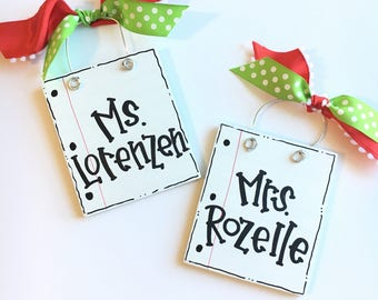 Personalized teacher ornament