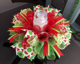 """17"""" Summer Watermelon Slices Deco Mesh Centerpiece/Candle Holder - Red/Green"""
