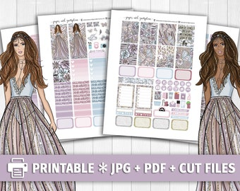 BUTTERFLY DREAMS Printable Planner Stickers/for use with Erin Condren/Weekly Kit/Cutfiles Glitter Gold Silver Headers Fly Angel Spring