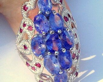 Sz 7 3/4, Rich Blue/Violet Tanzanite,Ruby Accents,Vintage Sterling Silver Ring,Natural Gemstones,Pristine Condition, Hallmarked 925 Sterling