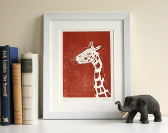 Linogravure originale d'impression, édition limitée, girafe, illustration animale, graphisme impression monochrome, art, fait main, brun