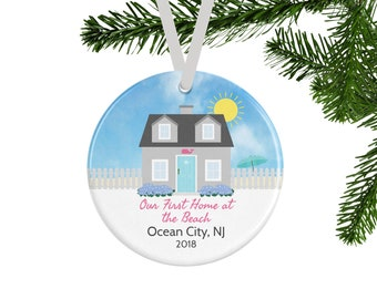 Personalized Christmas Ornament, Our First Home at the Beach, New Home Housewarming Gift, Beach House Coastal Christmas Decor