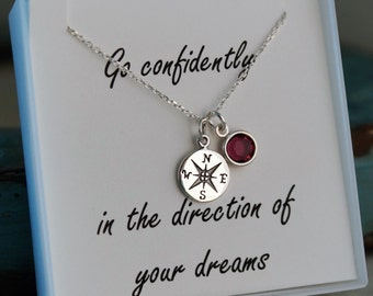 Graduation Necklace - Compass Necklace with birthstone - Go confidently in the direction of your dreams