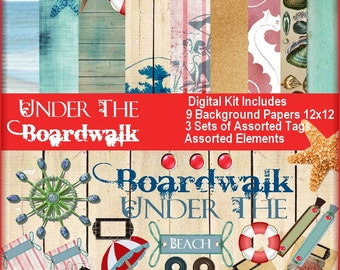 Under the Boardwalk Beach Theme Journaling Kit digital collage sheet printable image transfer greeting cards project life Uprint 300jpgpng