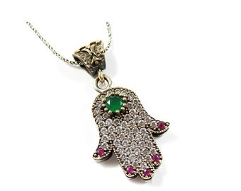 Genuine gems hamsa hand pendant necklace