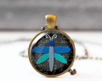 Animal lover gift, Dragonfly necklace, Blue chalk charm necklace, Art necklace for women, Unique jewelry, 5020-4, Mother's day gift
