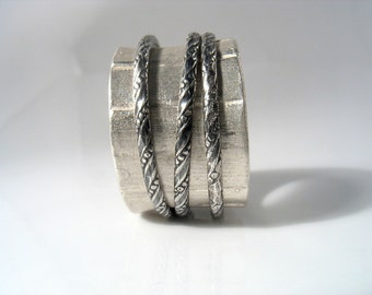 Day and Night - sterling silver braided and oxidized spinners on silver band (unisex ring)