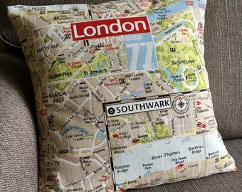 """16"""" (40cm x 40cm) London map fabric cushion cover cotton pillow cover 16 inch"""