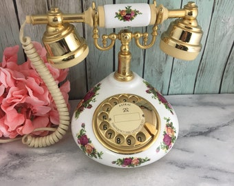 Royal Albert Telephone Old Country Roses Astral Works but Wired for England Pink Gold Decor Fine bone China