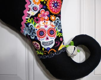 Sugar Skull Christmas Stocking with Curly Elf Toe