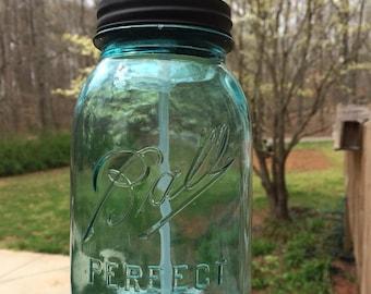 Blue Glass Mason Jar, Soap Dispenser Pump. Blue glass Quart Perfect Mason. Kitchen, bath.