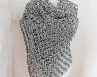 Scarf, Wrap, Shawl,  Shawl in  Silver, Gray, Crochet Shawl, Rectiangle Shawl, Wedding Shawl, Bridal, Bride, Bridesmaid