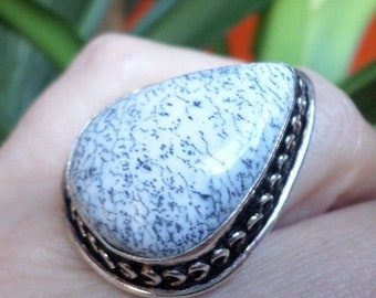 RING 925 sterling silver and dendritic Opal (BA229)