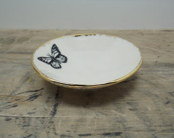 Monarch Butterfly Porcelain Small Bowl, Jewelry Dish, Ring Dish, Dipping Bowl