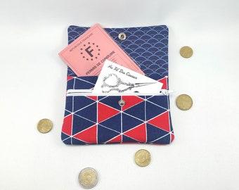 Wallet / / women wallet / / fabric purse / / XXL //Compagnon purse / / clutch - blue triangles