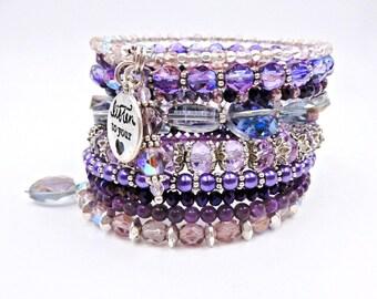 Purple beaded bracelet, memory wire bracelet, purple wrap bracelet, charm bracelet, crystal bracelet, cuff bracelet, coil bracelet
