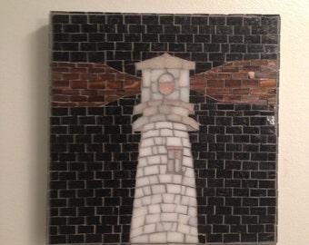 Black and White Lighthouse Mosaic