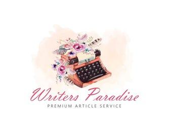 Writing Logo, Typist Logo, Type Logo Design, Writers Logo, Writing service, Watercolor Logo, Floral Logo, Typewriter logo, Type writer