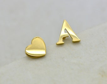 Alphabet Earring Studs - Gold Stainless Steel - Choice of Letter Heart Rhinestone Earrings - Monogram Studs & Posts