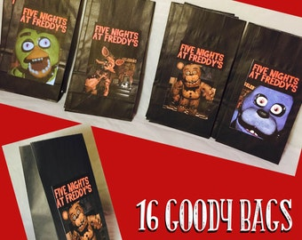 Five Nights at Freddy Birthday Party Treat Bags 16 Total