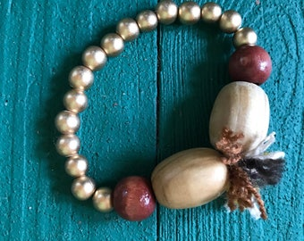 Gold wood bead bracelet