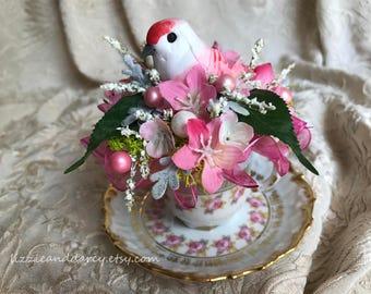 Pink Rose White Pearl Blue Repurposed Demitasse Teacup Bird Nest Silk Floral Arrangement