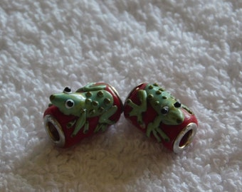 Two Red Glass Barrel Beads with Frogs