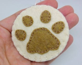 Dog paw ornament - felt christmas decor for dog-lovers - cat pawprint - pet memorial keepsake - hanging decoration
